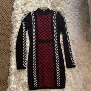 Limited edition Bebe jacquard knit winter dress